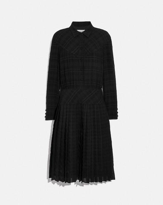 PLAID PLEATED SHIRT DRESS