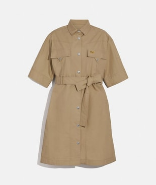 SHORT SLEEVE SAFARI SHIRT DRESS