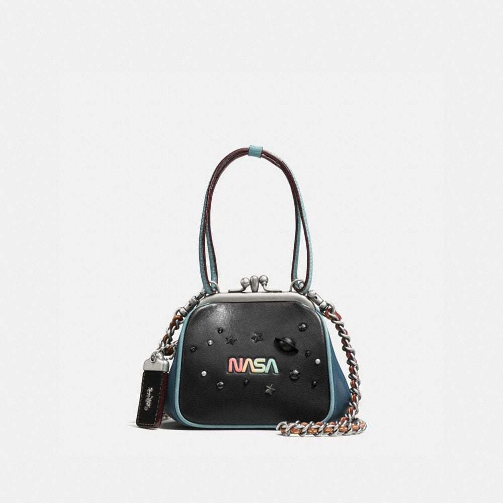 KISSLOCK FRAME BAG 23 IN GLOVETANNED LEATHER WITH SPACE EMBELLISHMENT