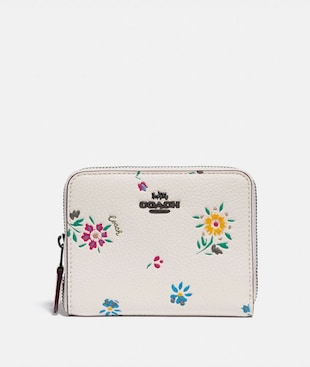 SMALL ZIP AROUND WALLET WITH WILDFLOWER PRINT