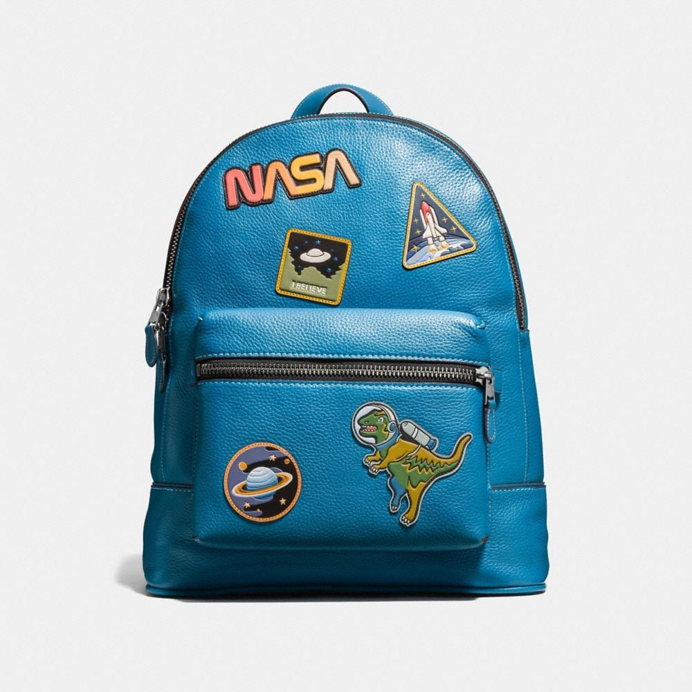LEAGUE BACKPACK IN GLOVETANNED PEBBLE LEATHER WITH SPACE PATCHES