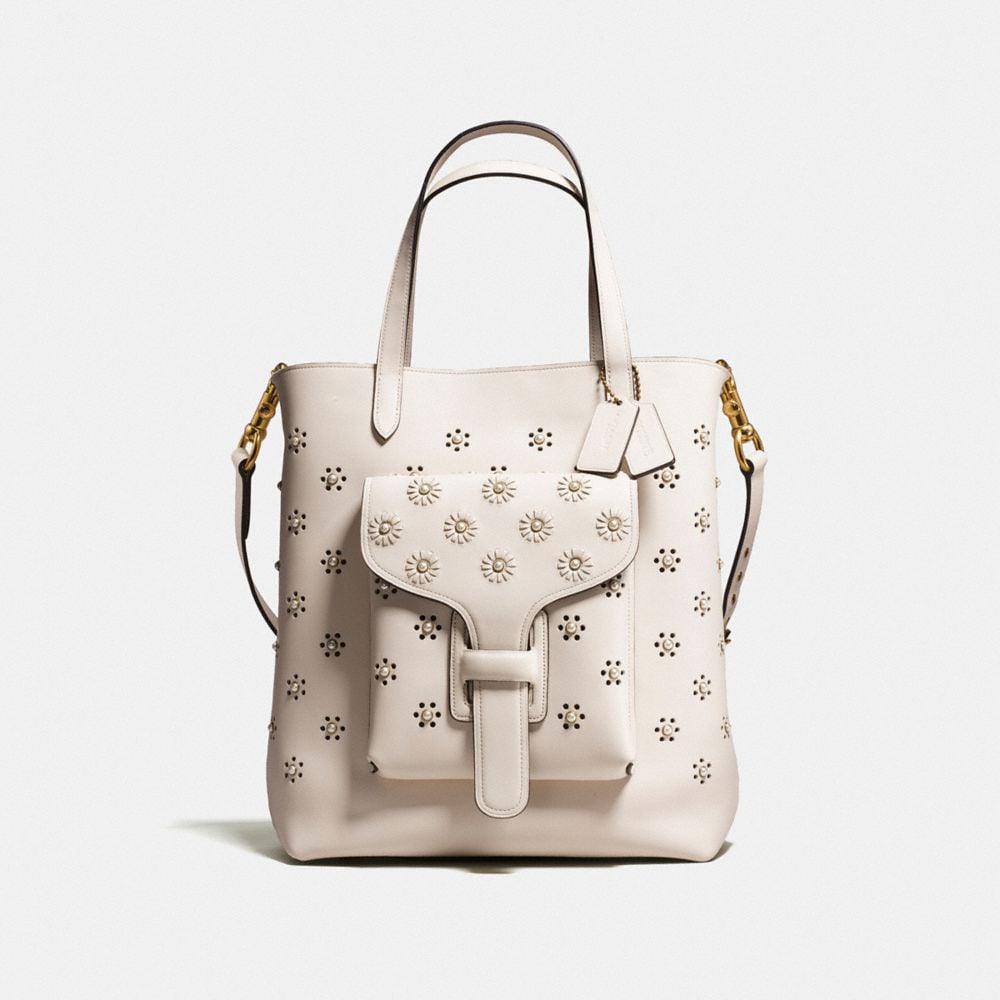 POCKET TOTE IN GLOVETANNED LEATHER WITH WHIPSTITCH EYELET