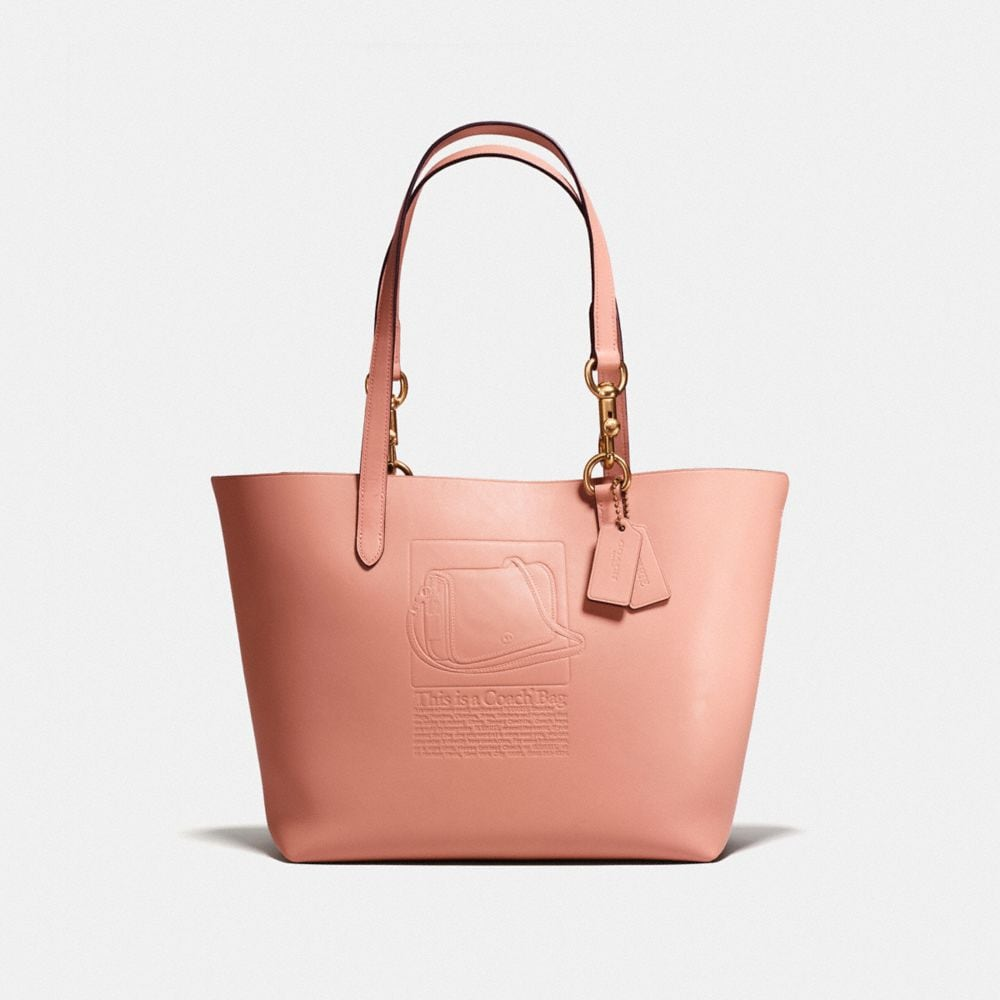 TOTE IN GLOVETANNED LEATHER WITH EMBOSSED ARCHIVE PRINT