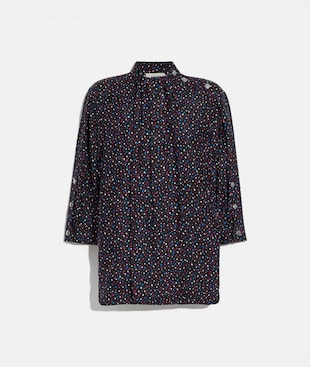 DOT PRINT SHORT SLEEVE BLOUSE