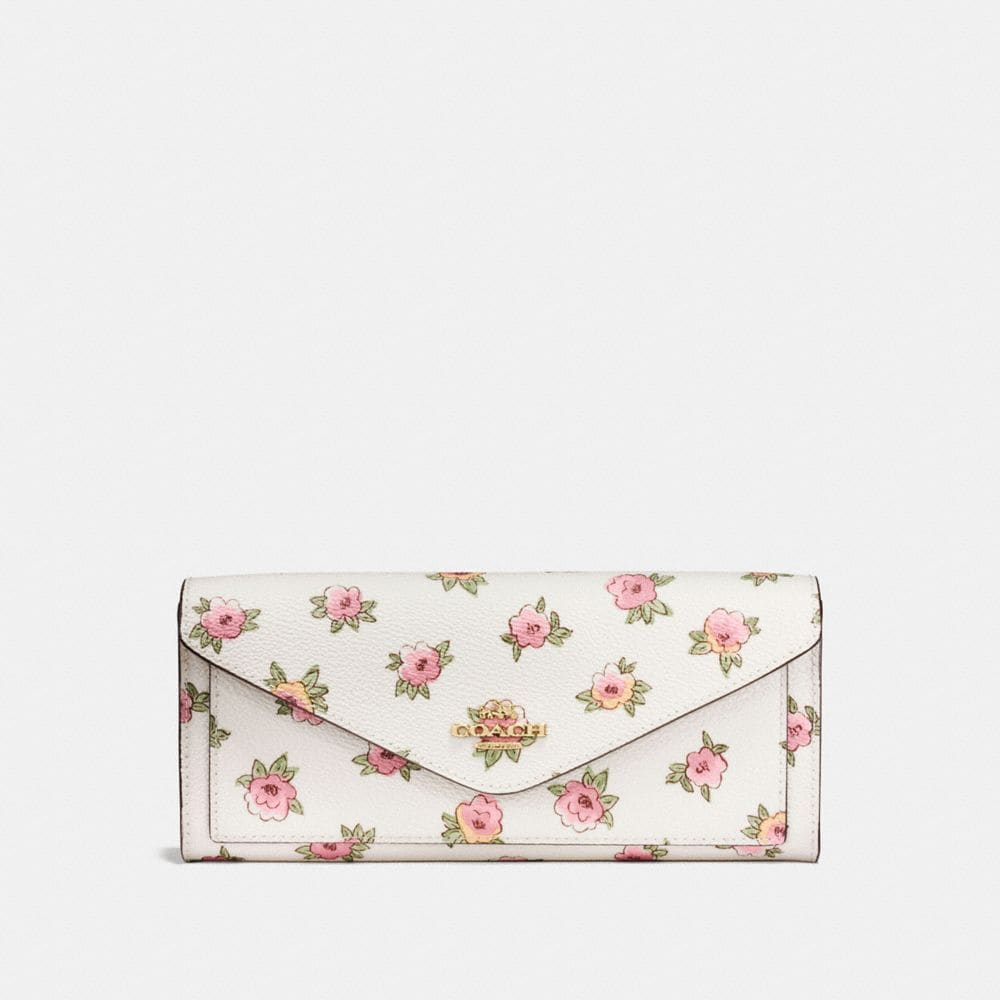 SOFT WALLET IN FLOWER PATCH PRINT COATED CANVAS