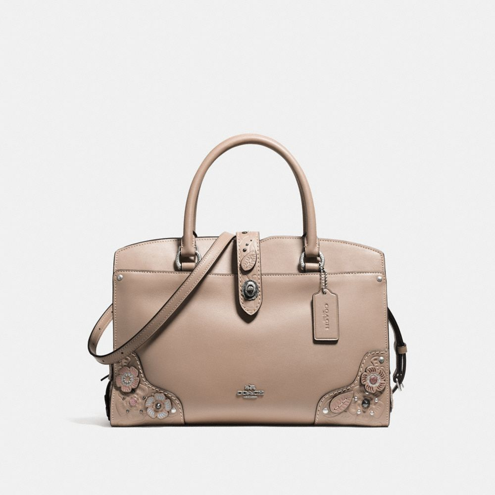 MERCER SATCHEL 30 IN GLOVETANNED LEATHER WITH PAINTED TEA ROSE AND TOOLING