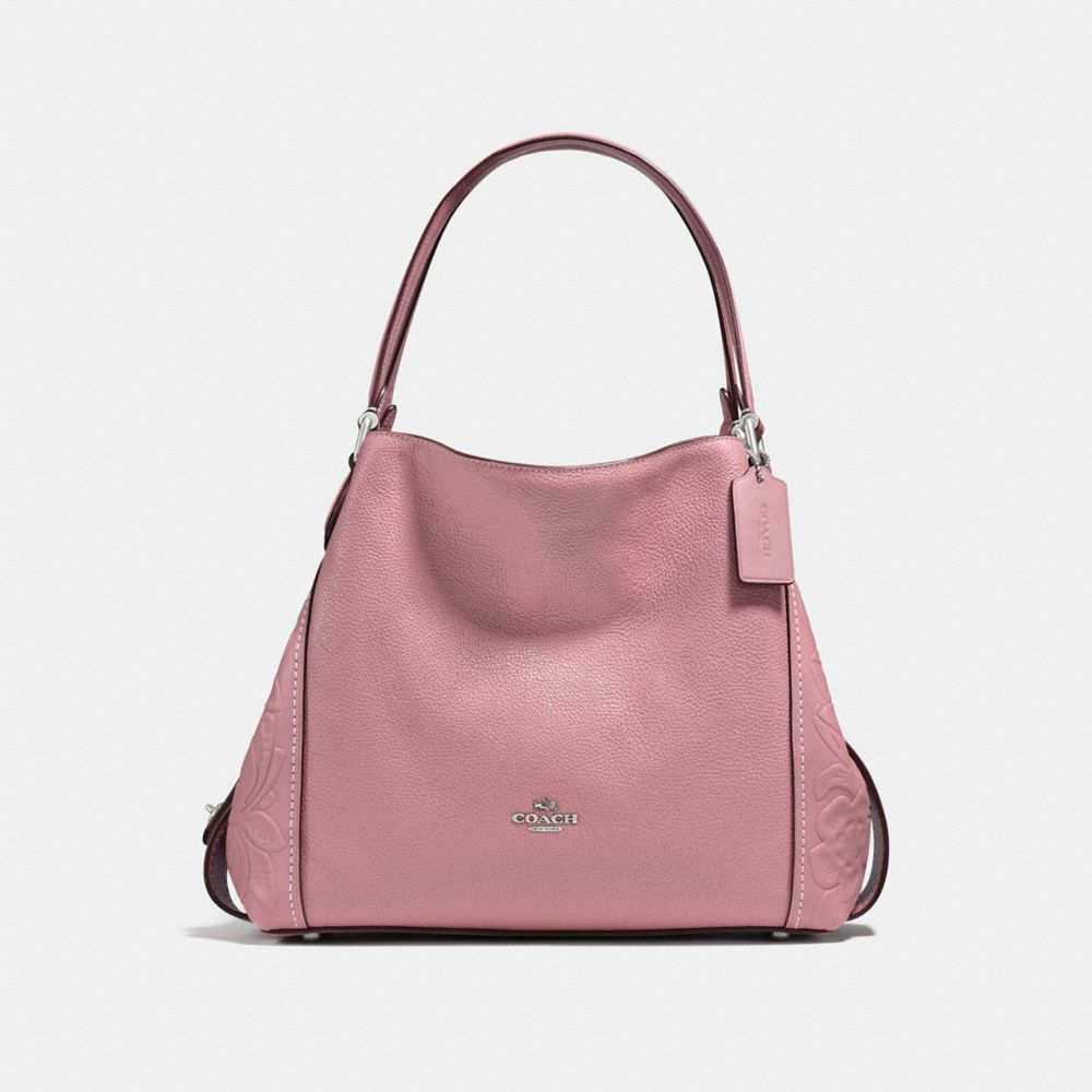 EDIE SHOULDER BAG 31 IN GLOVETANNED LEATHER WITH TEA ROSE TOOLING