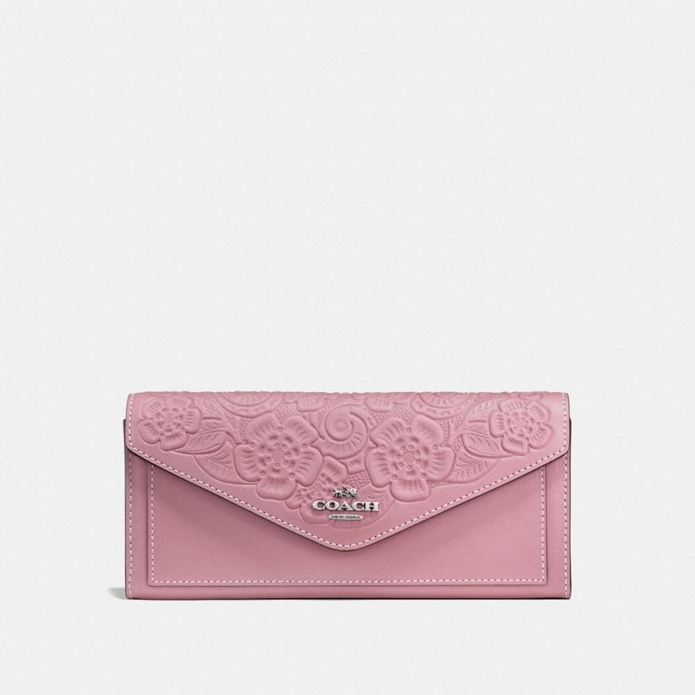 SOFT WALLET IN GLOVETANNED LEATHER WITH TEA ROSE TOOLING