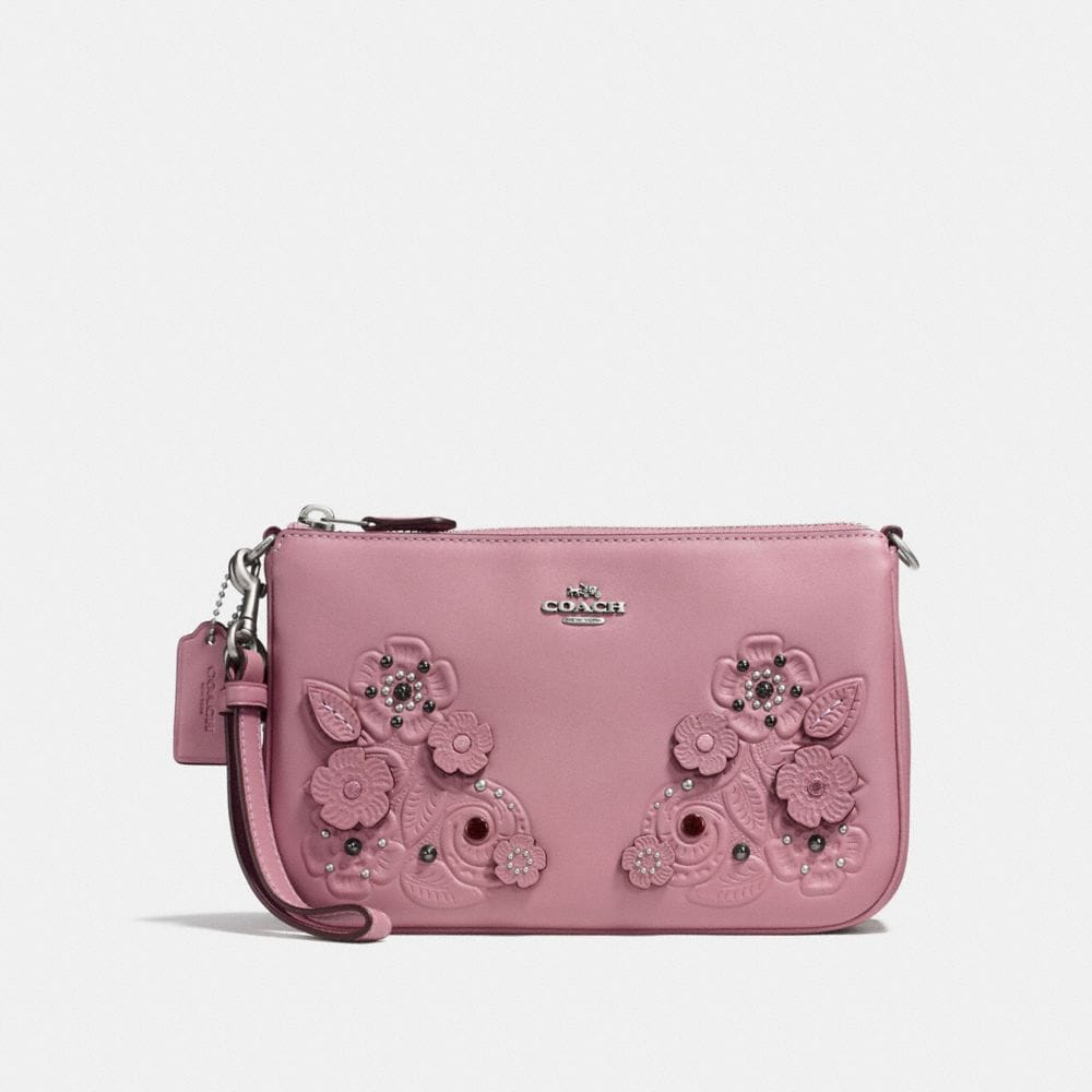 NOLITA WRISTLET 22 IN GLOVETANNED LEATHER WITH TEA ROSE AND TOOLING