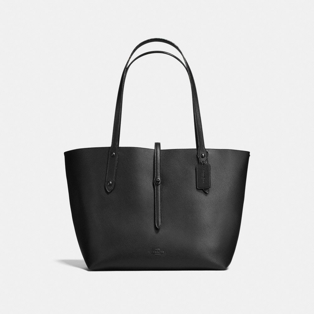 MARKET TOTE IN POLISHED PEBBLE LEATHER WITH STARLIGHT