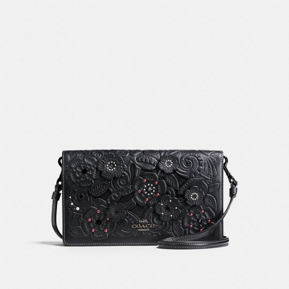 FOLDOVER CROSSBODY CLUTCH IN GLOVETANNED LEATHER WITH TEA ROSE TOOLING