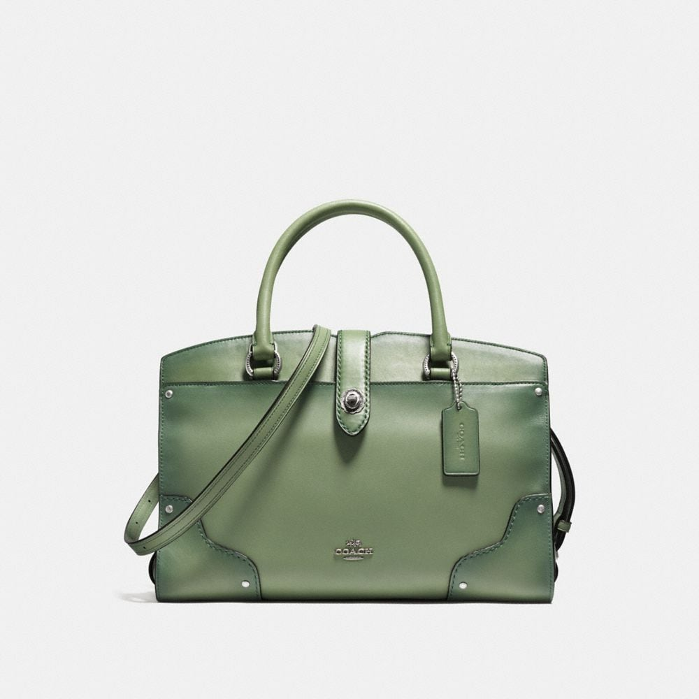MERCER SATCHEL 30 IN GLOVETANNED LEATHER WITH TOOLED TURNLOCK
