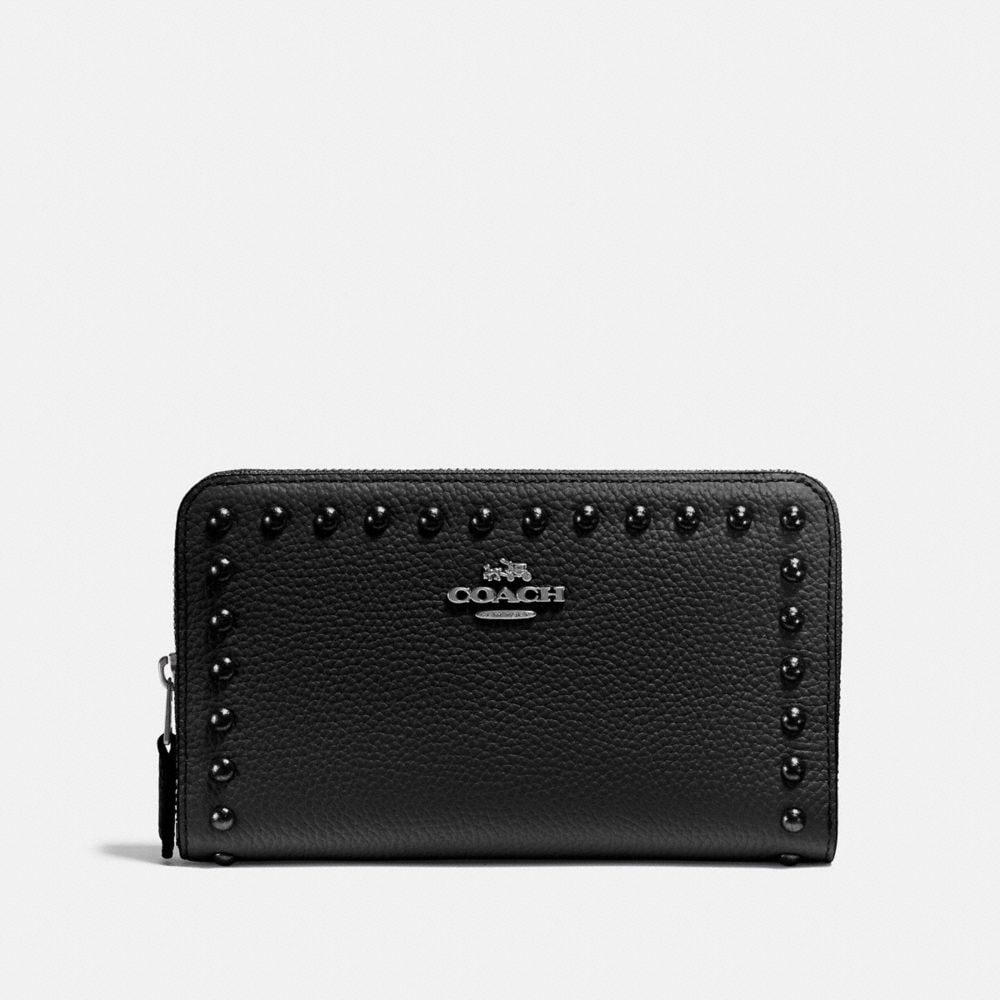 MEDIUM ZIP AROUND WALLET WITH LACQUER RIVETS