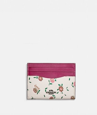 CARD CASE WITH BLOCKED FLORAL PRINT