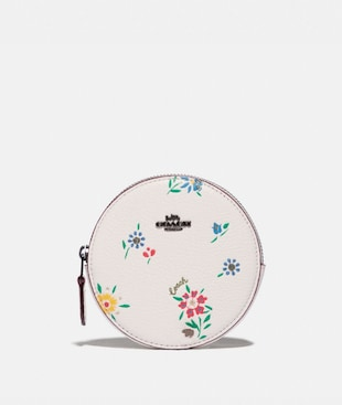 ROUND COIN CASE WITH WILDFLOWER PRINT