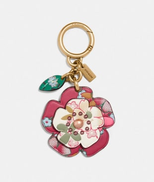 TEA ROSE BAG CHARM WITH MULTI FLORAL PRINT