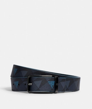 HARNESS BUCKLE CUT-TO-SIZE REVERSIBLE BELT WITH CHECK GEO PRINT, 38MM
