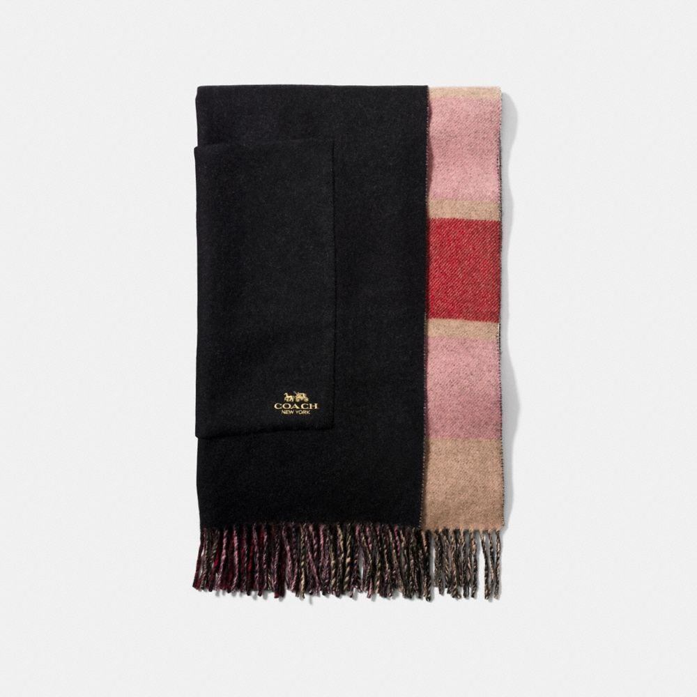 OVERSIZED REVERSIBLE PLAID CASHMERE MUFFLER