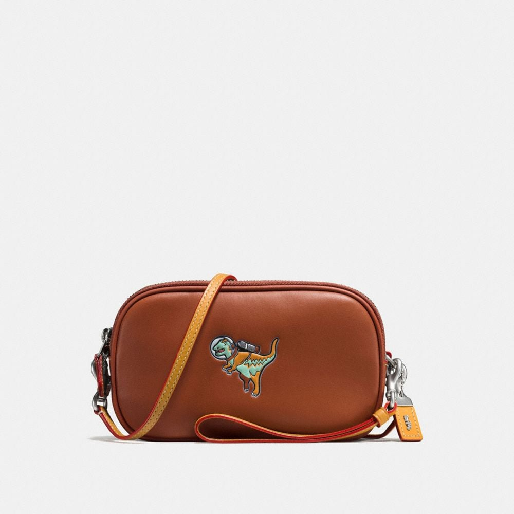CROSSBODY CLUTCH IN GLOVETANNED LEATHER WITH EMBOSSED SPACE REXY