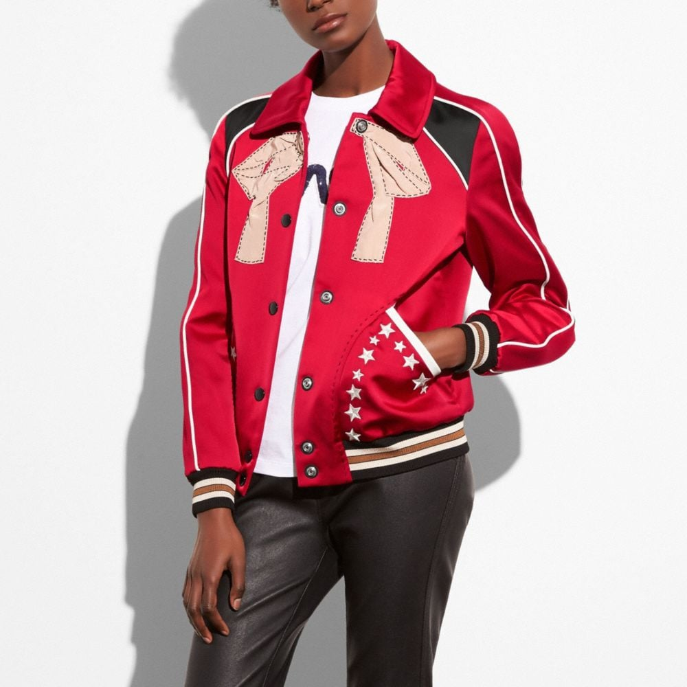 EMBROIDERED VARSITY SOUVENIR JACKET