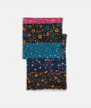 MIXED FLORAL PRINT OBLONG SCARF
