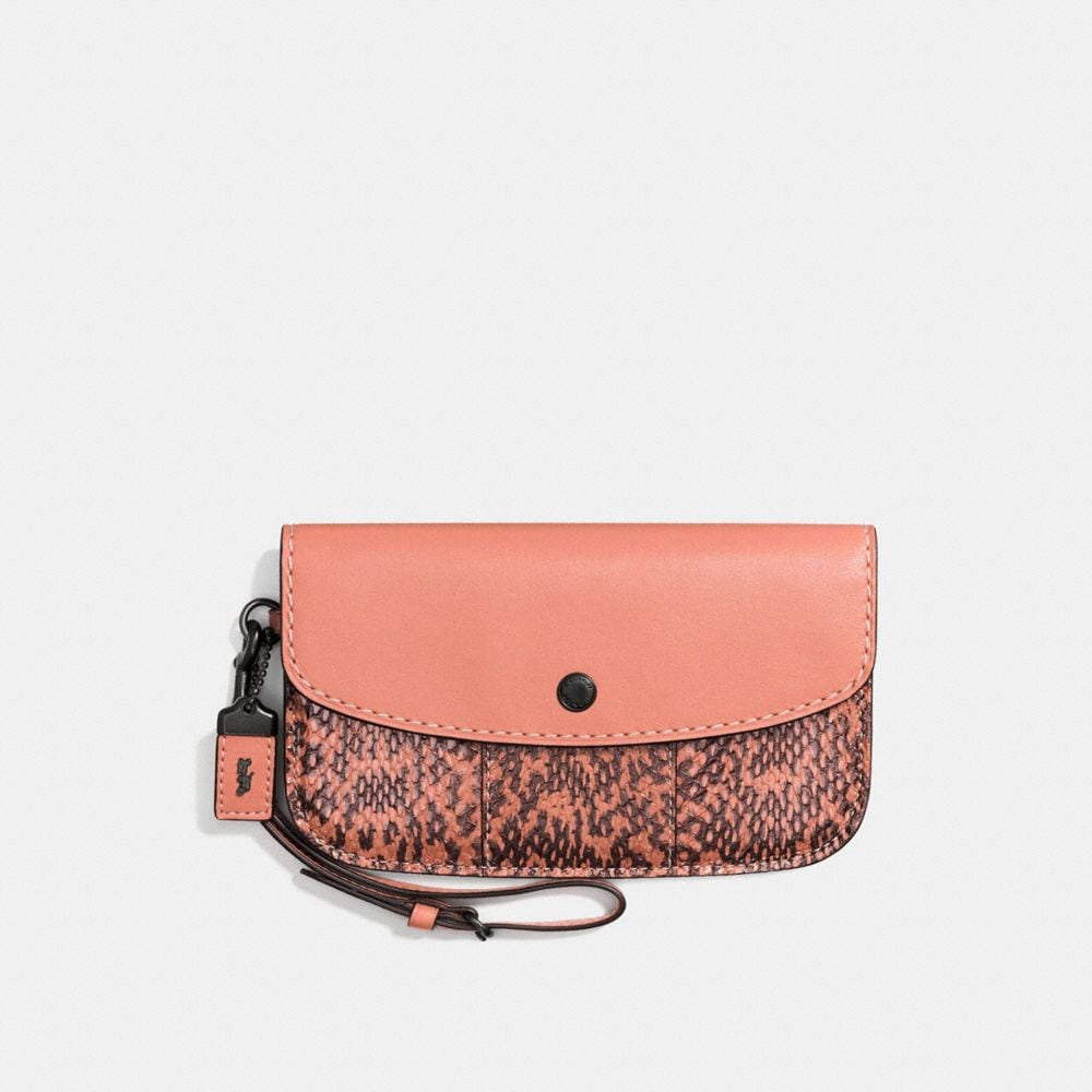 CLUTCH IN GLOVETANNED LEATHER WITH COLORBLOCK SNAKE