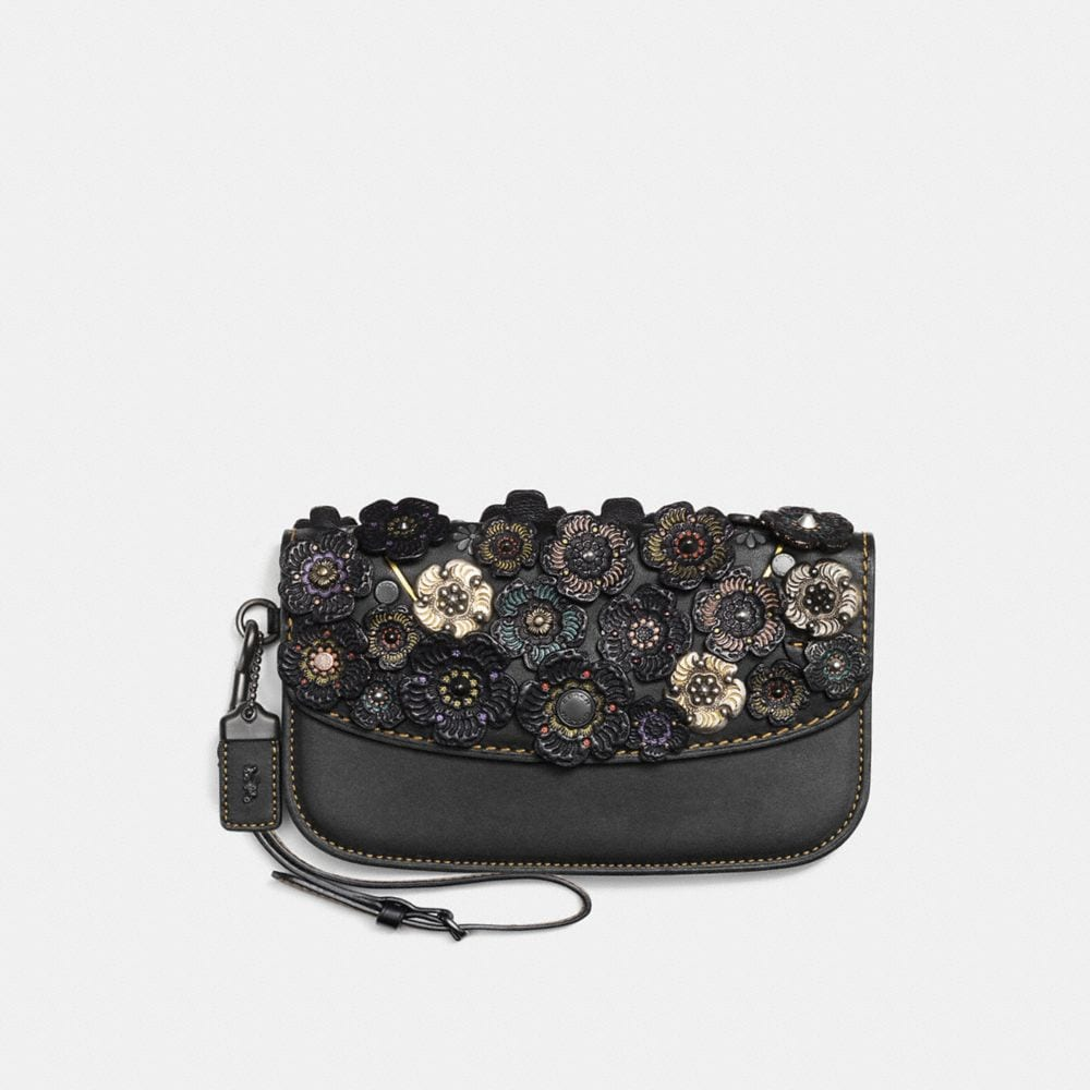 CLUTCH IN GLOVETANNED LEATHER WITH TOOLED TEA ROSE