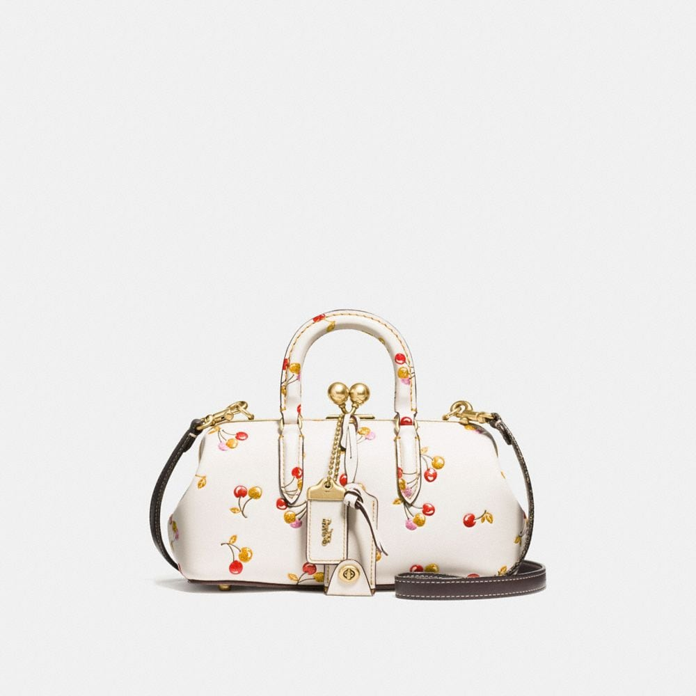 KISSLOCK SATCHEL IN GLOVETANNED LEATHER WITH CHERRY PRINT