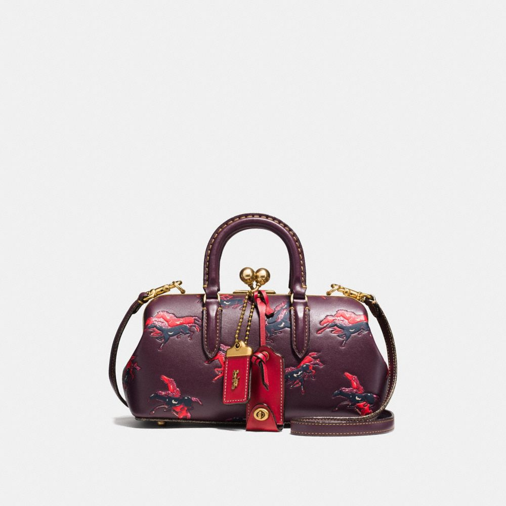 KISSLOCK SATCHEL IN GLOVETANNED LEATHER WITH COLORBLOCK HORSE AND DUCK PRINT