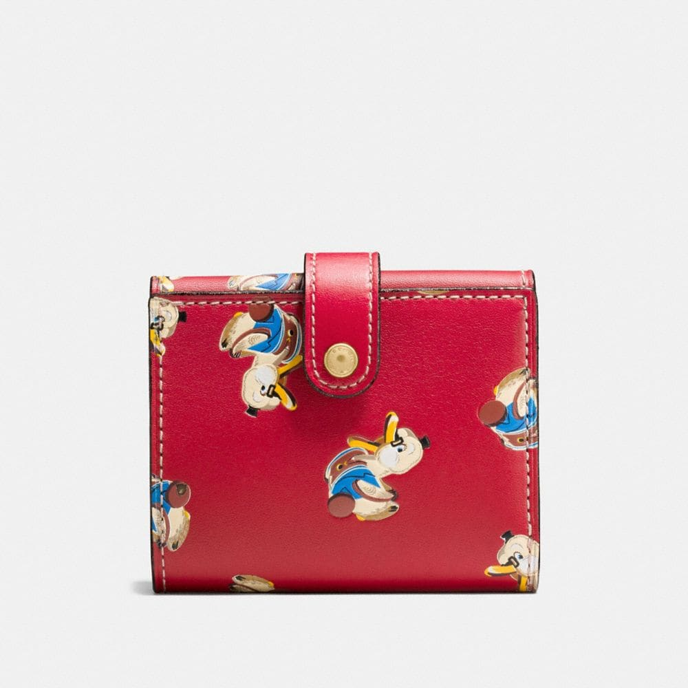 SMALL TRIFOLD WALLET IN GLOVETANNED LEATHER WITH DUCKS PRINT