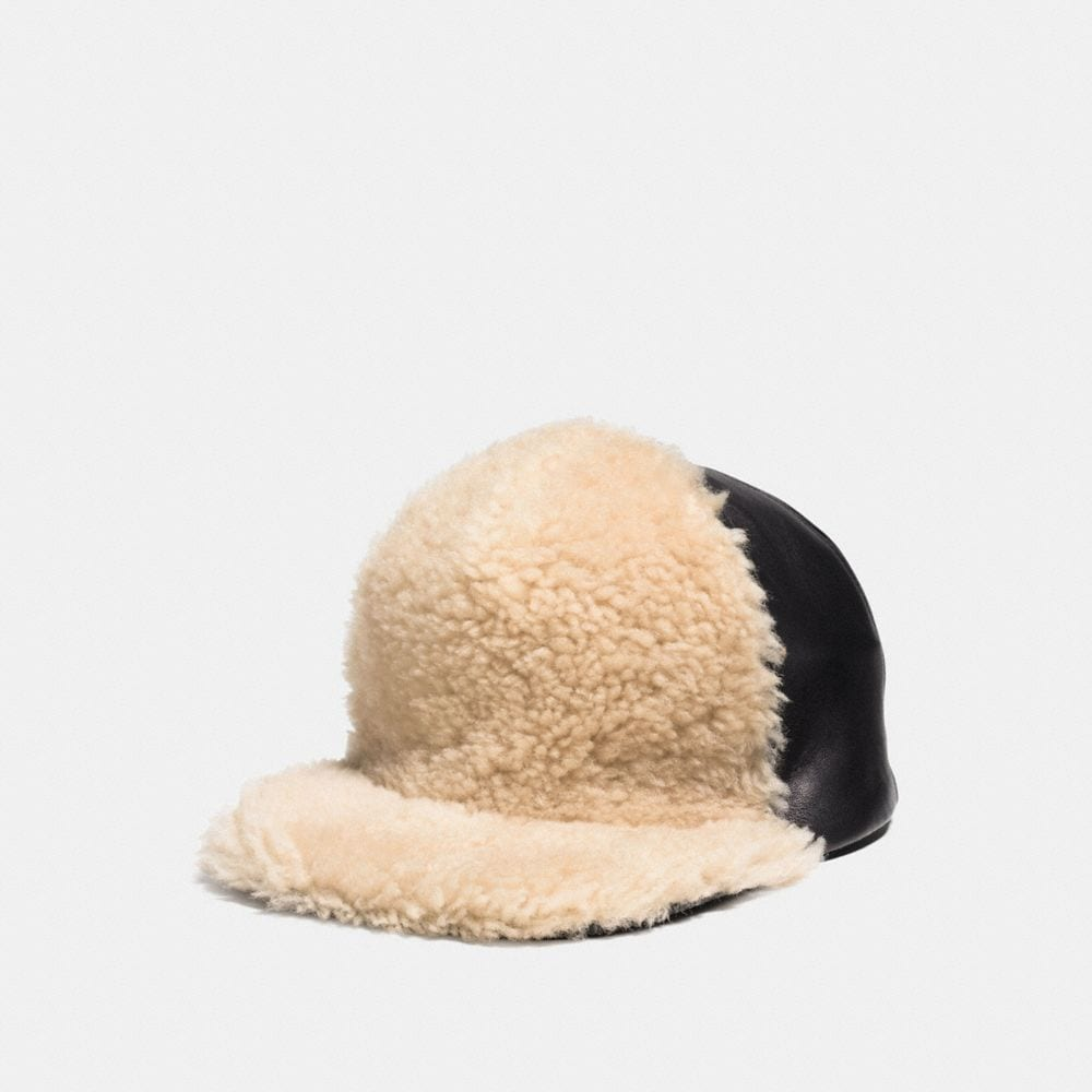 SHEARLING LEATHER TRUCKER HAT