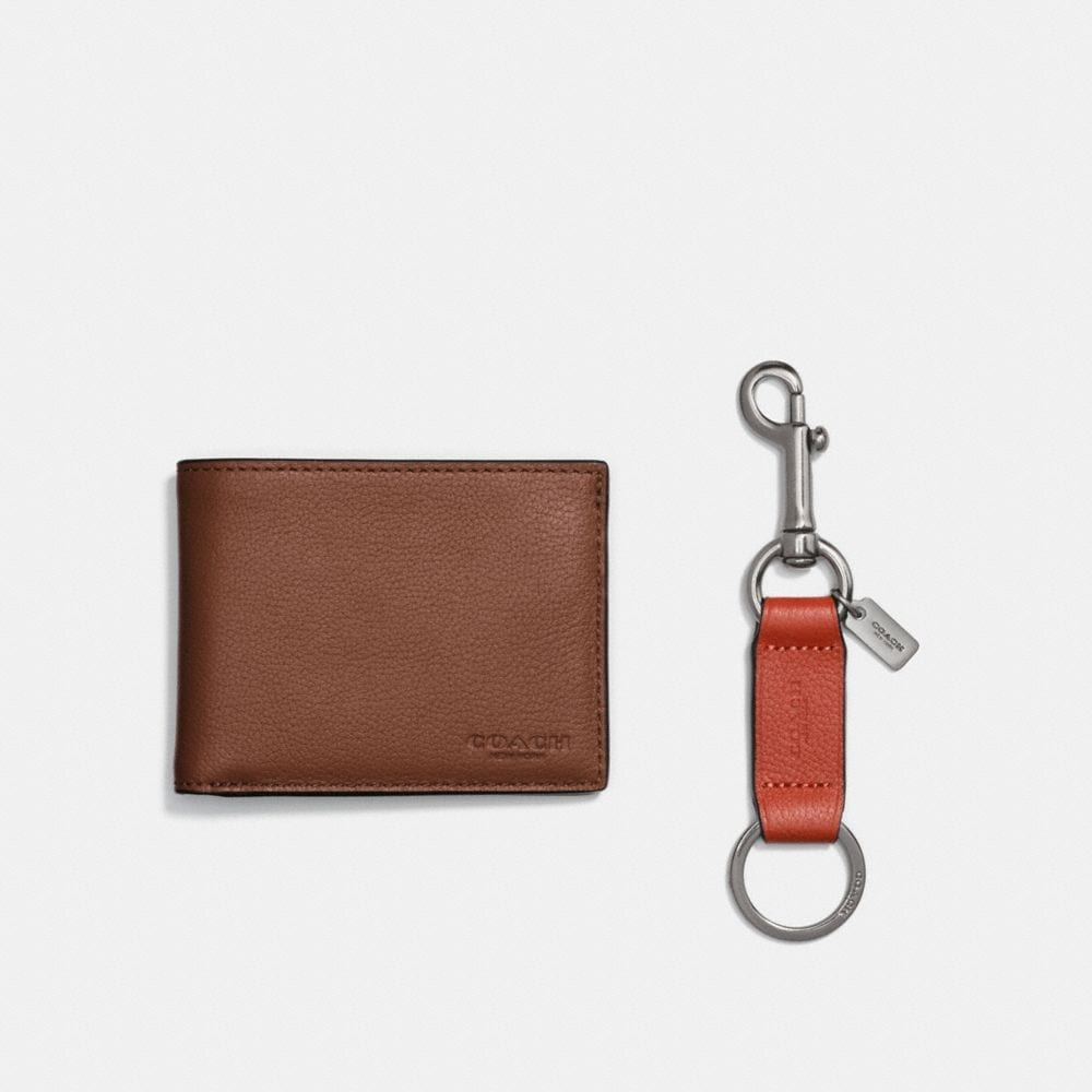 BOXED SLIM BILLFOLD ID WALLET WITH TRIGGER SNAP KEY FOB