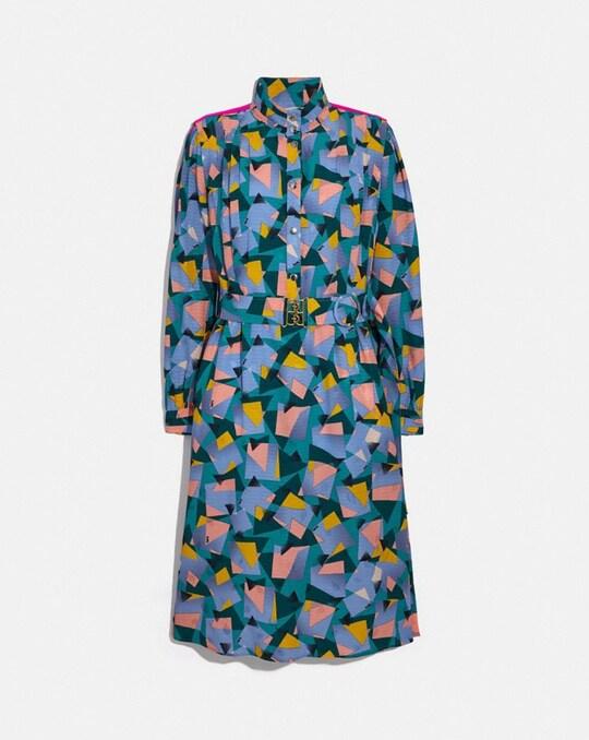 BOLD GEO MOCK NECK DRESS WITH SPORTY STRIPE