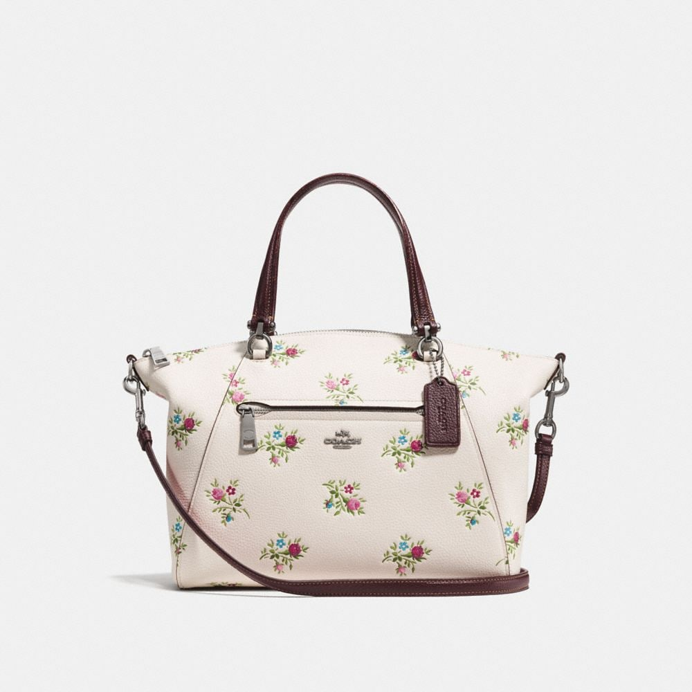 PRAIRIE SATCHEL WITH CROSS STITCH FLORAL PRINT