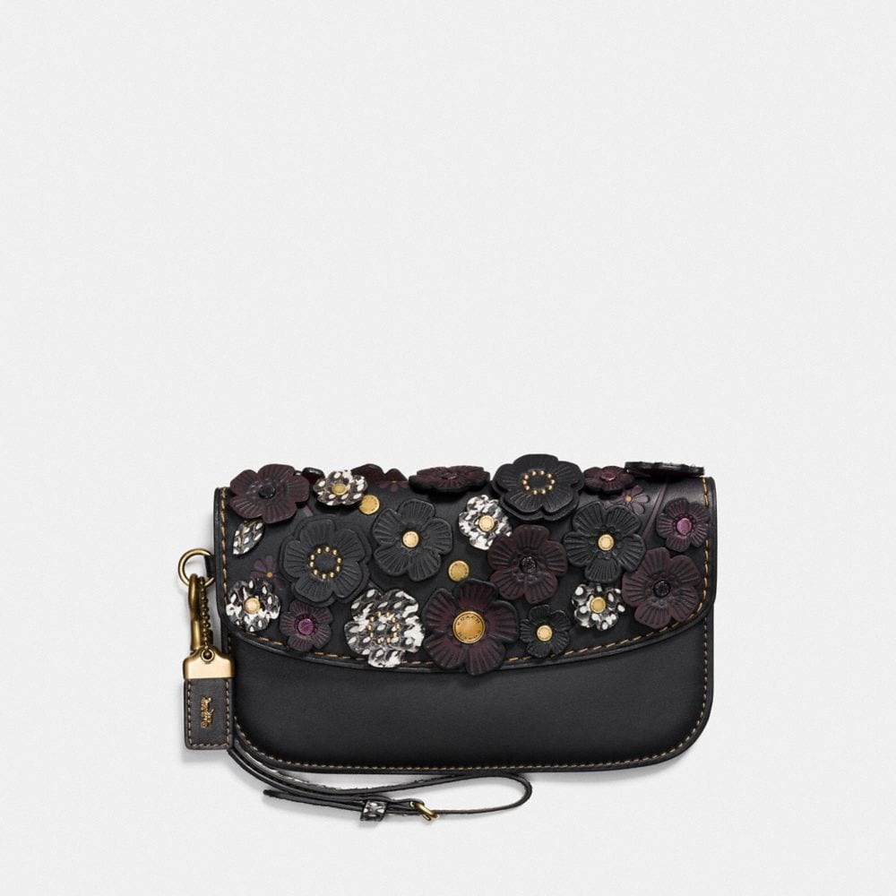 CLUTCH WITH SNAKESKIN TEA ROSE