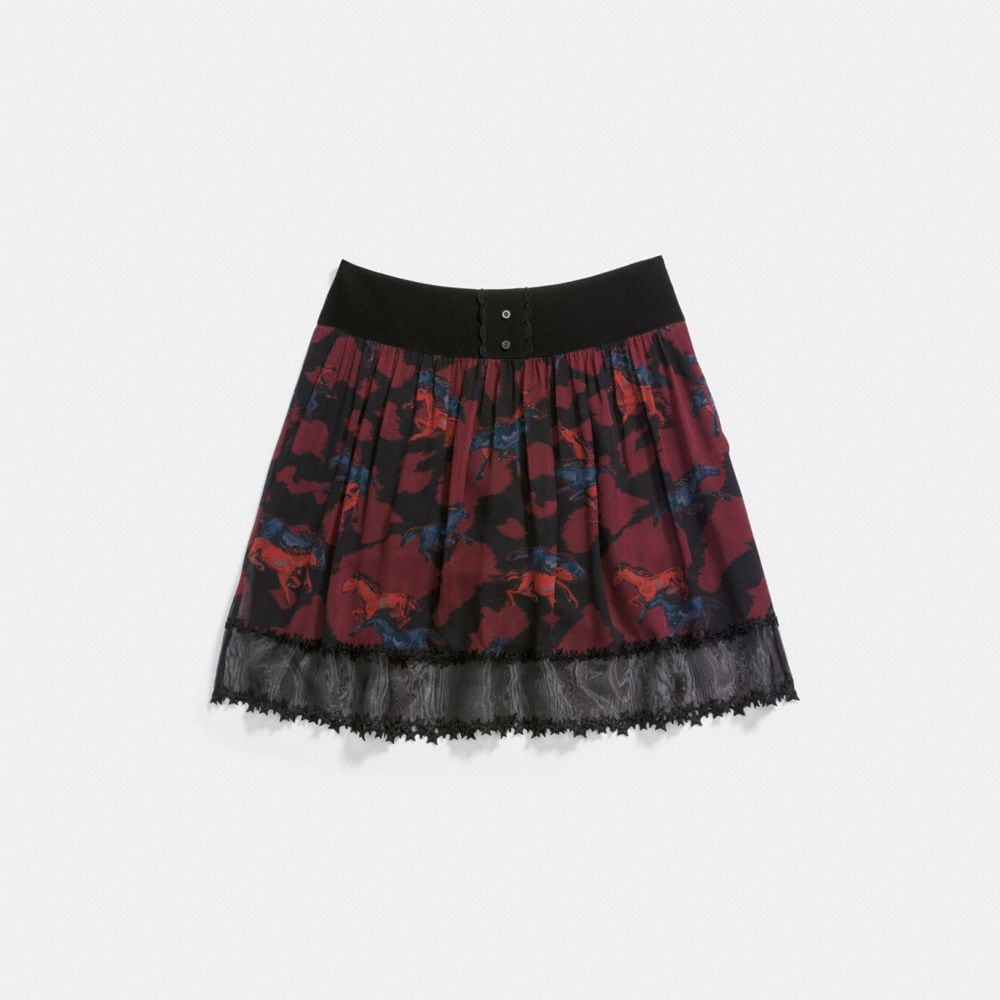 HORSE PRINT TIERED SKIRT