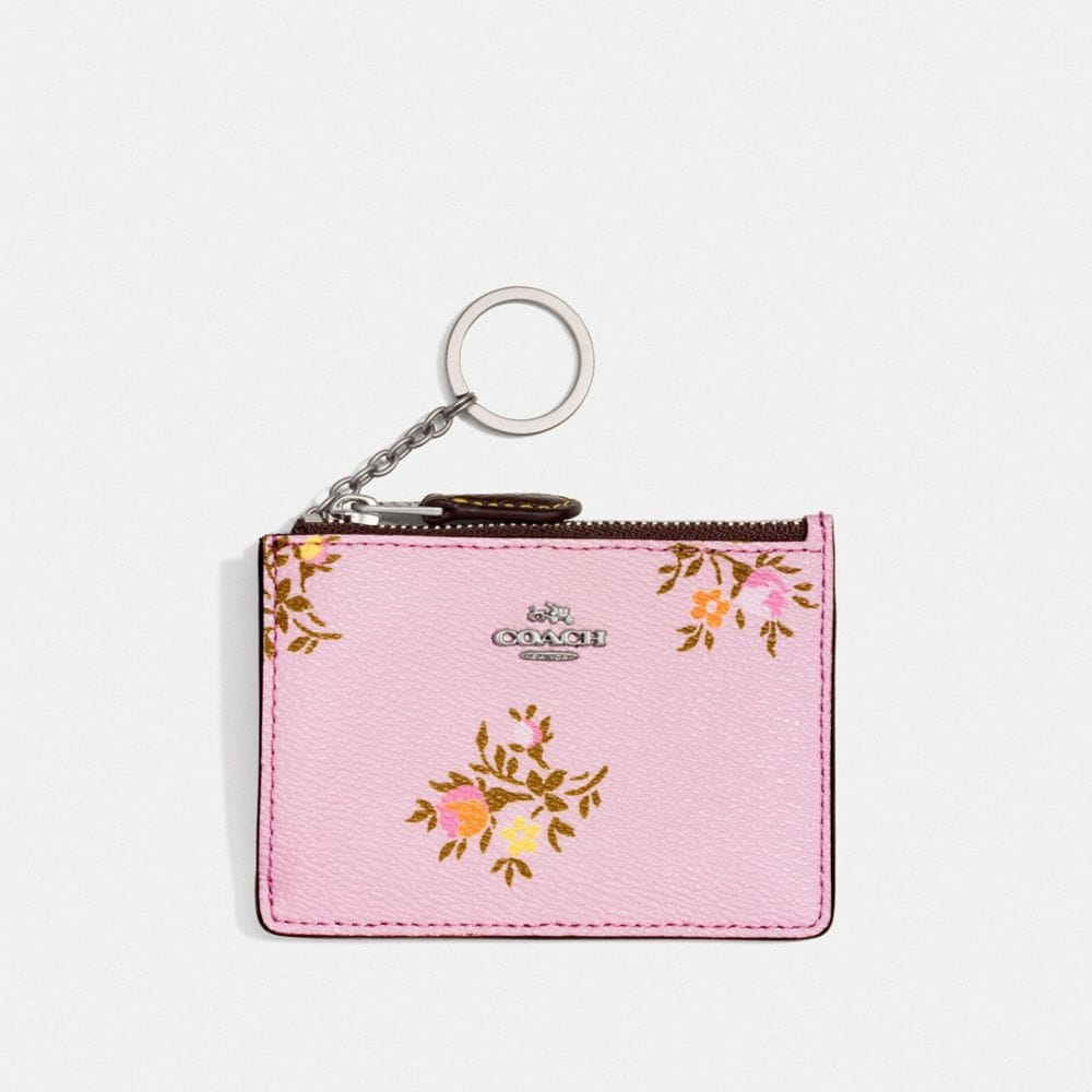 MINI SKINNY ID CASE WITH CROSS STITCH FLORAL PRINT