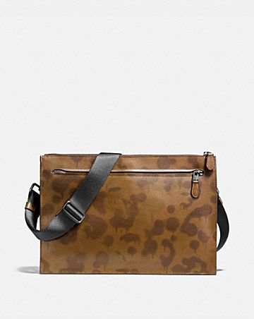 MANHATTAN CONVERTIBLE SLIM MESSENGER WITH WILD BEAST PRINT