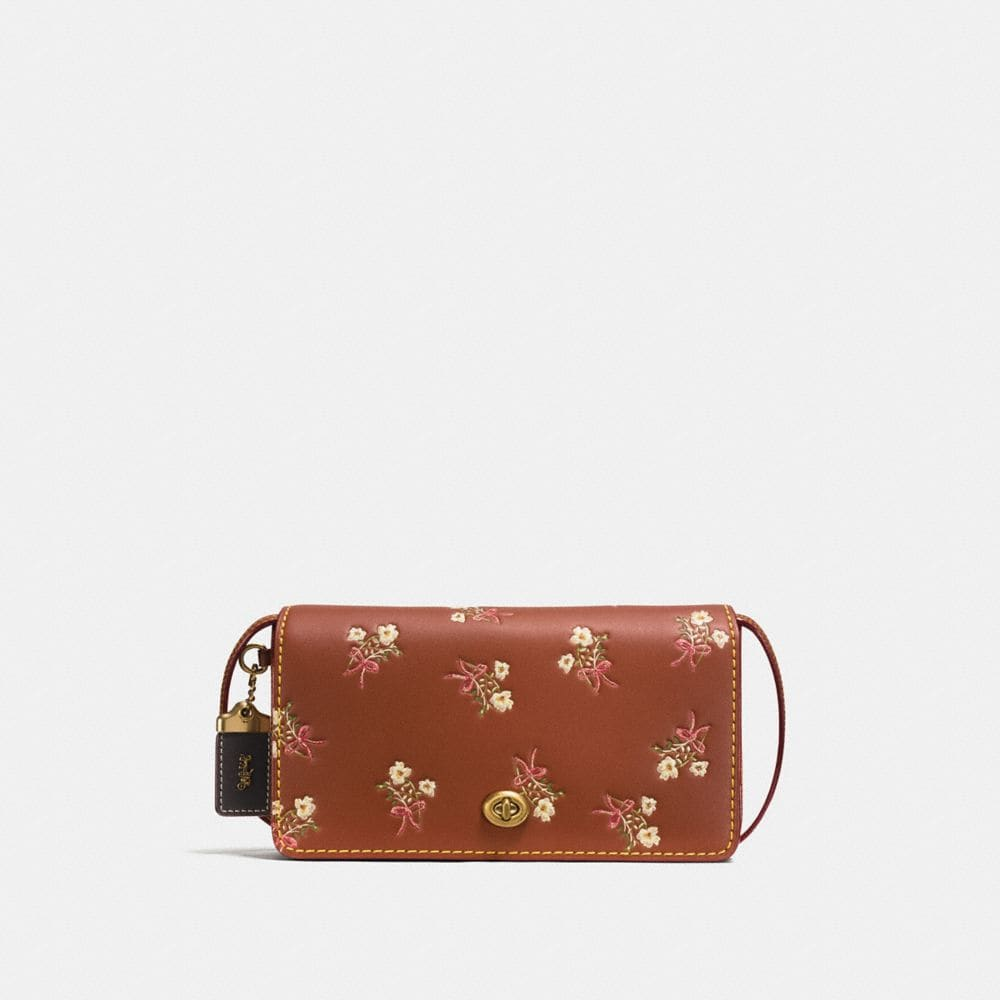 DINKY IN GLOVETANNED LEATHER WITH FLORAL BOW PRINT