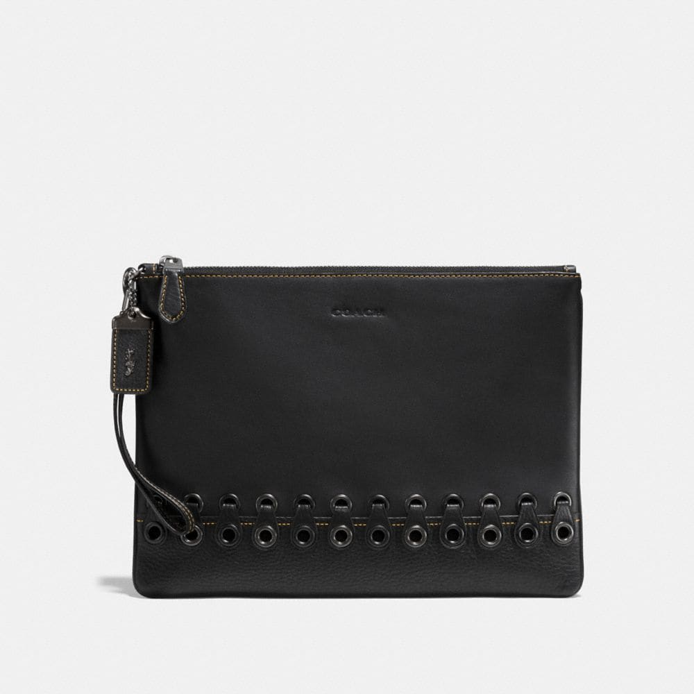POUCH WITH COACH LINK DETAIL