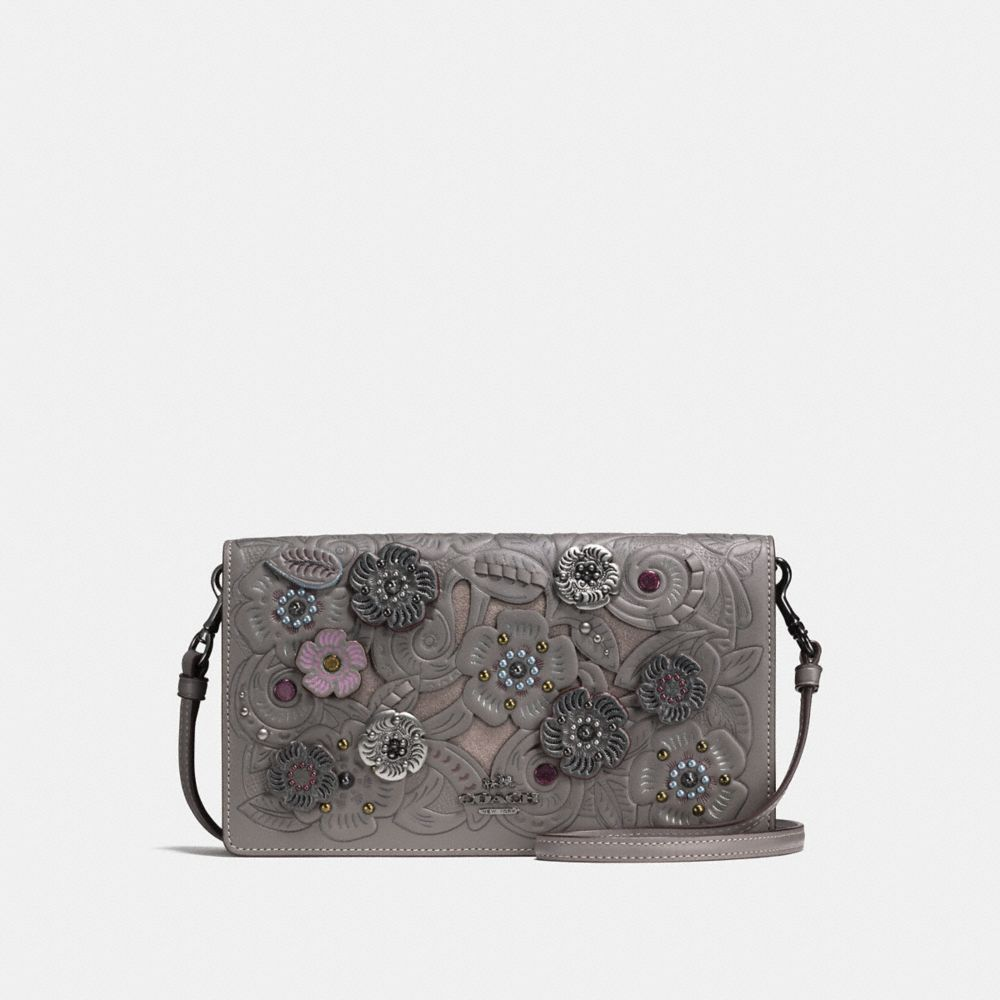 FOLDOVER CROSSBODY CLUTCH WITH METAL TEA ROSE TOOLING
