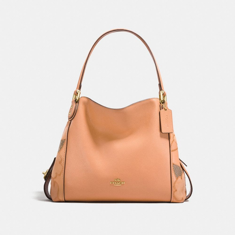 EDIE SHOULDER BAG 31 WITH PATCHWORK TEA ROSE AND SNAKESKIN DETAIL