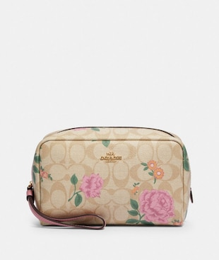 BOXY COSMETIC CASE IN SIGNATURE CANVAS WITH PRAIRIE ROSE PRINT