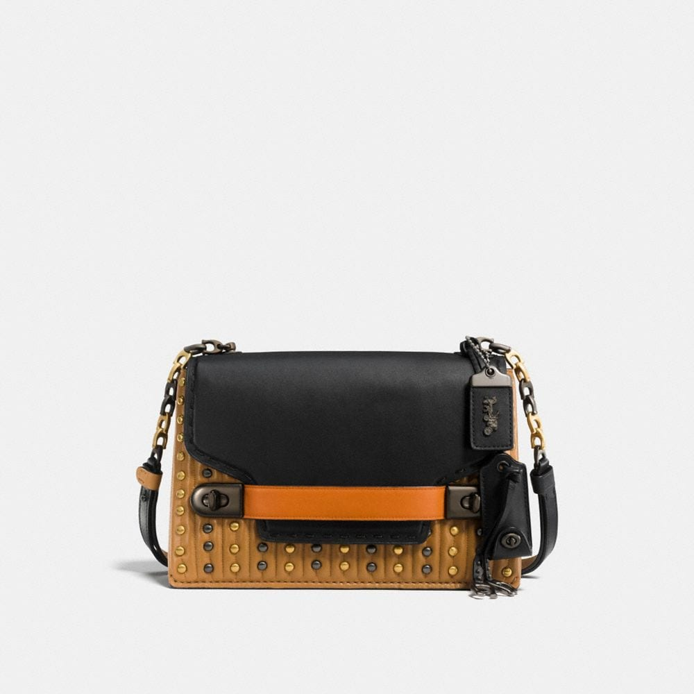 COACH SWAGGER CHAIN CROSSBODY WITH COLORBLOCK QUILTING AND RIVETS