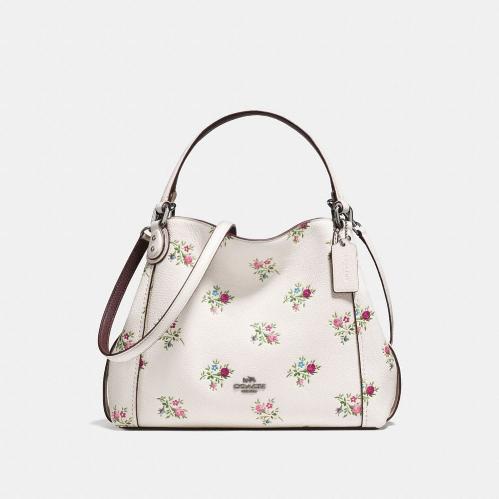 EDIE SHOULDER BAG 28 WITH CROSS STITCH FLORAL PRINT