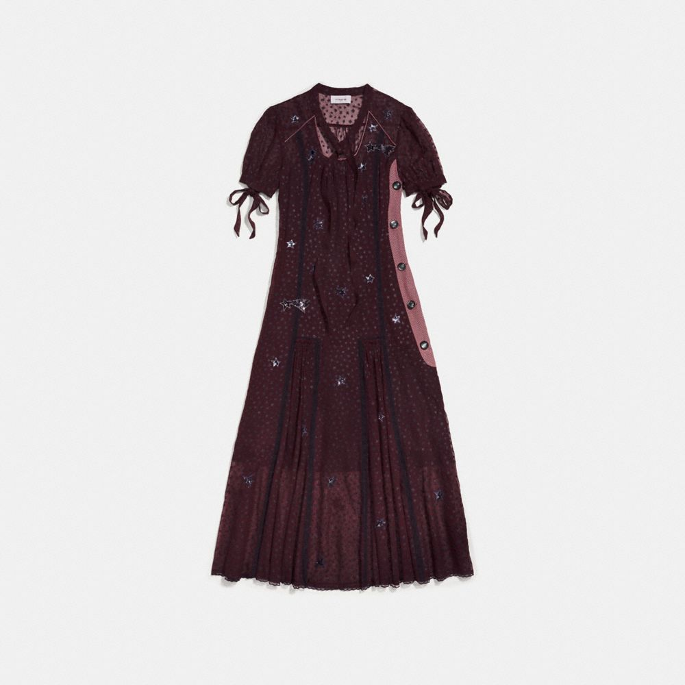 LONG STAR PRINT TIE NECK DRESS