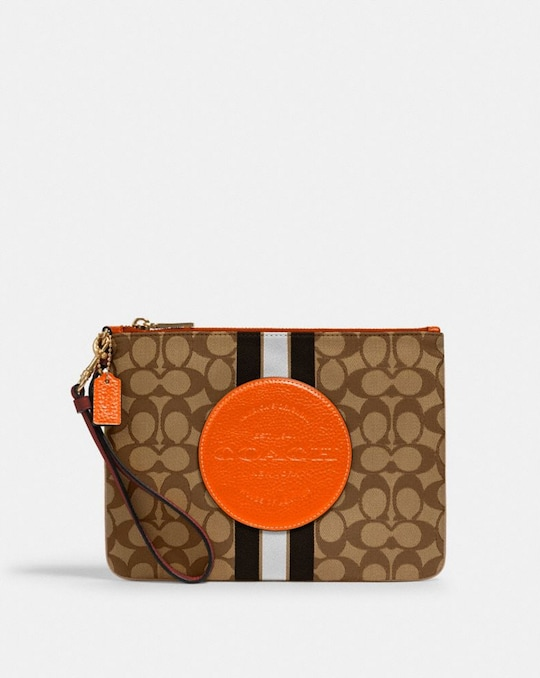 DEMPSEY GALLERY POUCH IN SIGNATURE JACQUARD WITH STRIPE AND COACH PATCH