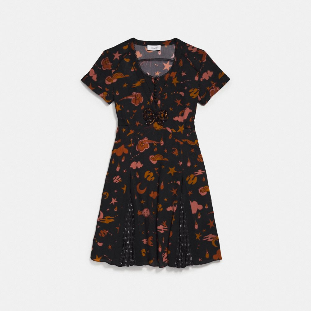 OUTERSPACE PRINT PLEATED DRESS