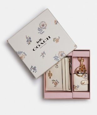 BOXED MINI SKINNY ID CASE AND PICTURE FRAME BAG CHARM SET WITH DANDELION FLORAL PRINT