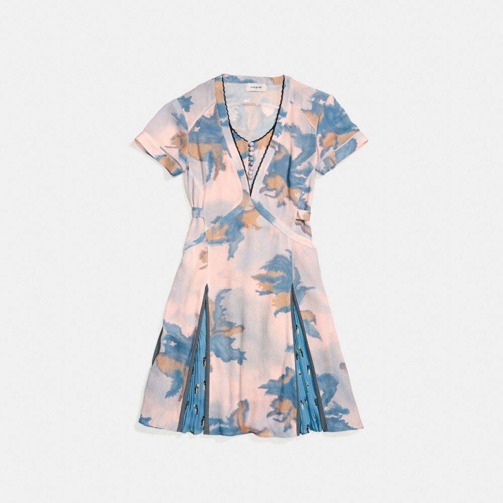 DREAMY FLORAL PRINT PLEATED DRESS